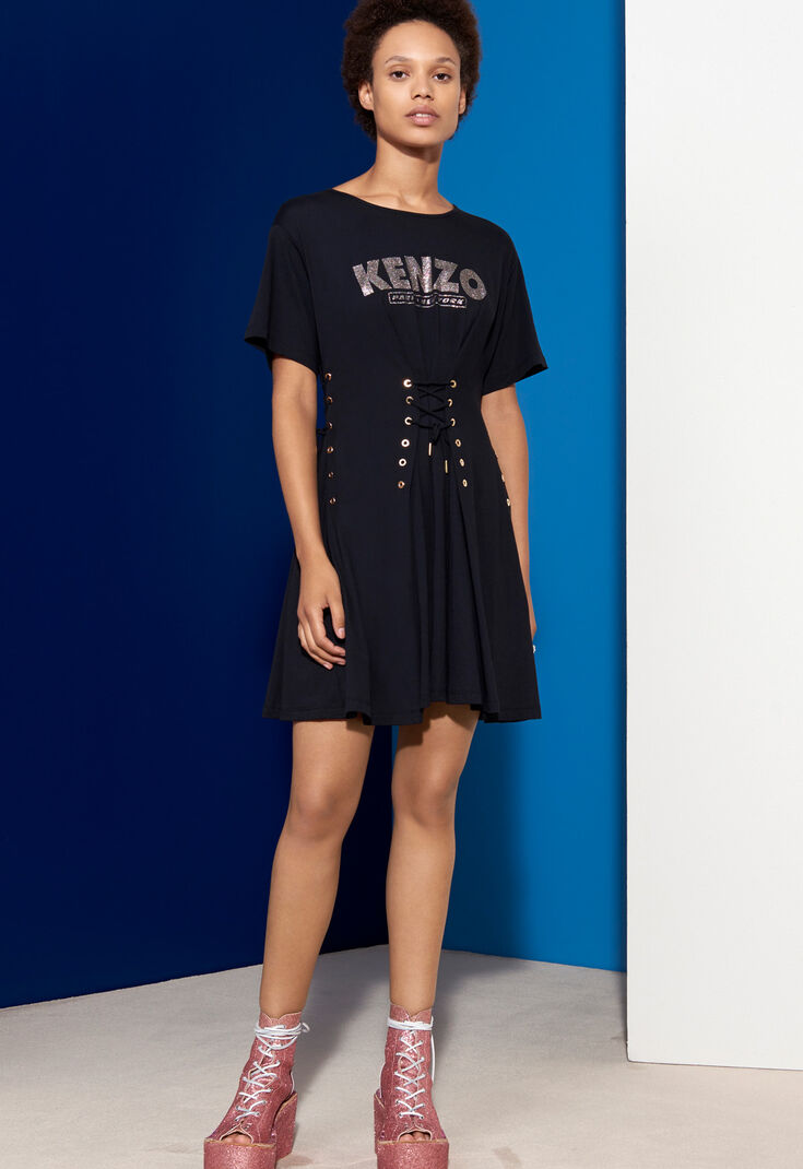 Corseted Fit And Flare Dress Kenzo