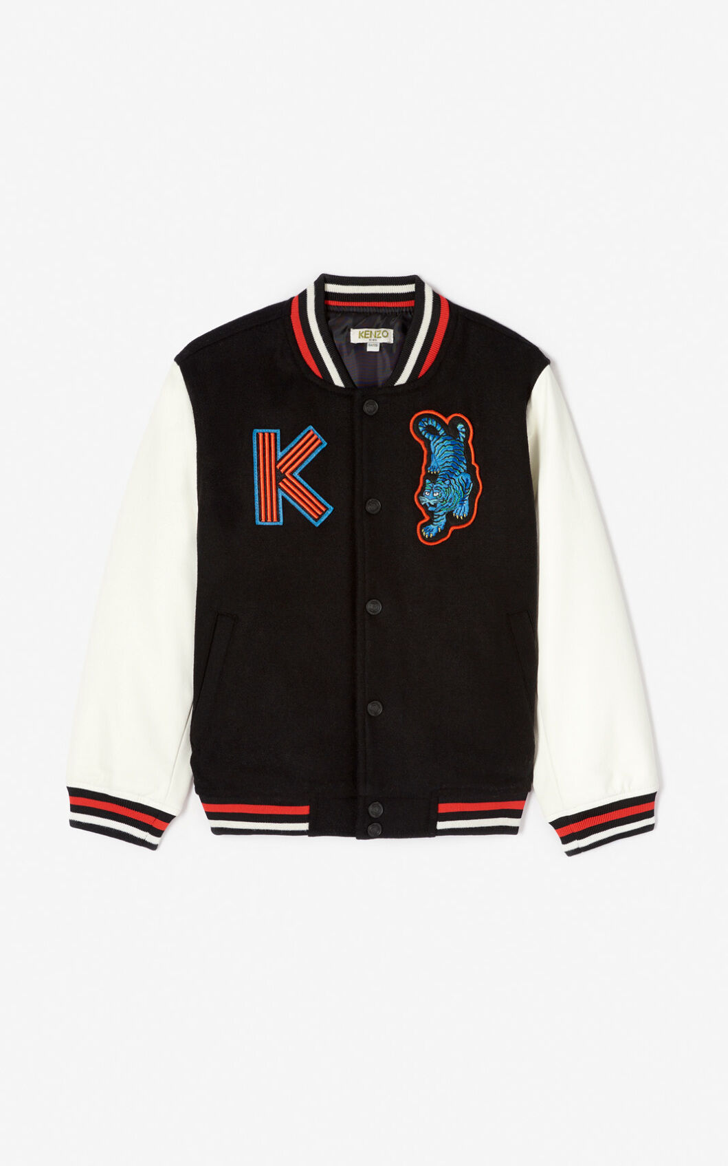 Women/'s Varsity Jacket in Red OR Black with Badges and Leather Look Sleeves